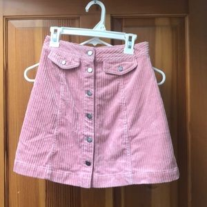 Pink mini courderoy mini skirt from H&M, size 2
